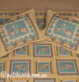 "Quilted coverlet ""Elephants - bunnies"""