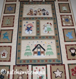 "Quilted New Year's blanket ""Winter"""