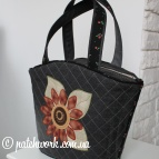 Denim basket bag with appliqué