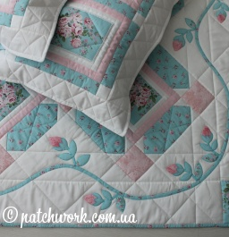 "Quilt cover ""Roses on blue"""