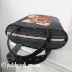 Джинсовая сумка-корзинка с аппликацией