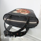 Denim basket bag with appliqué