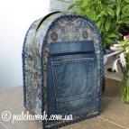 Denim backpack with applique