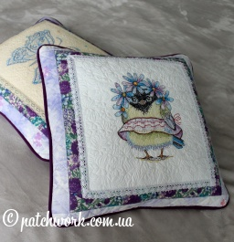 "Set of decorative pillowcases ""Butterfly and Sparrow"""