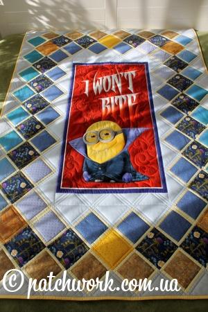 """Лоскутное одеяло """"Миньоны - я не кусаюсь"""""""