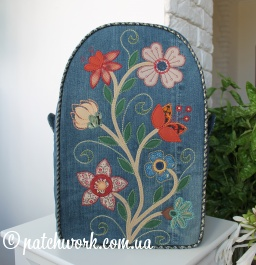Denim backpack with applique